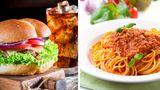 Burger und Spaghetti Bolognese