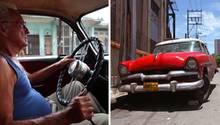 Kubaner in einem Oldtimer