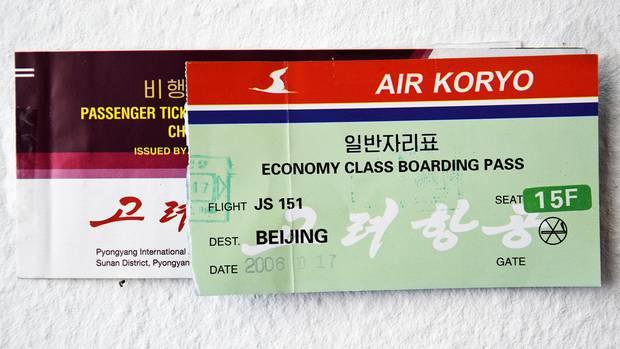 Flugschein und Bordkarte von Air Koryo