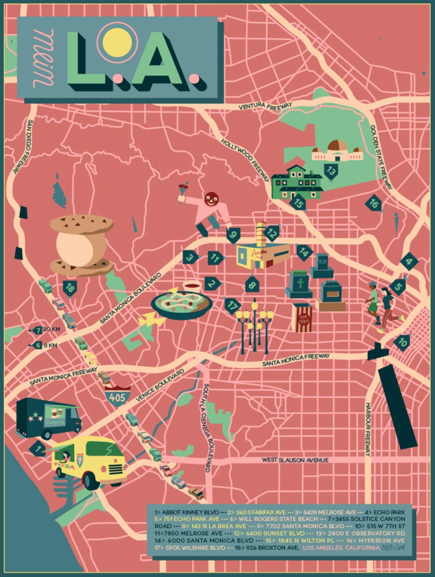 """Karte von Los Angeles in der NEON-Rubrik """"Meine Stadt"""""""