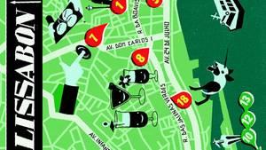 """Karte von Lissabon in der NEON-Rubrik """"Meine Stadt"""""""