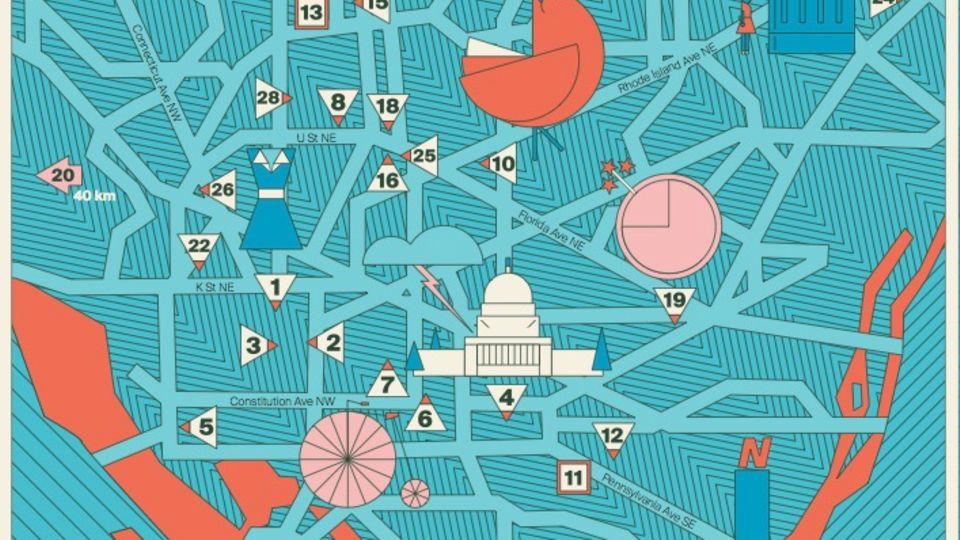 """Karte von Washington, D.C. in der NEON-Rubrik """"Meine Stadt"""""""