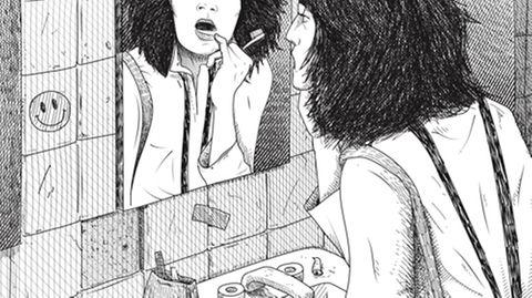 Illustration: Eine Frau betrachtet im Spiegel ihre Zähne