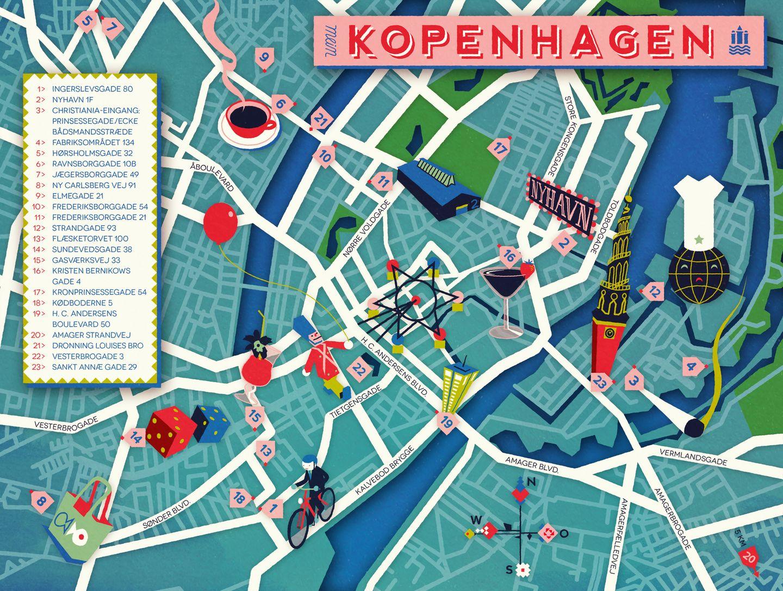 """Karte von Kopenhagen in der NEON-Rubrik """"Meine Stadt"""""""
