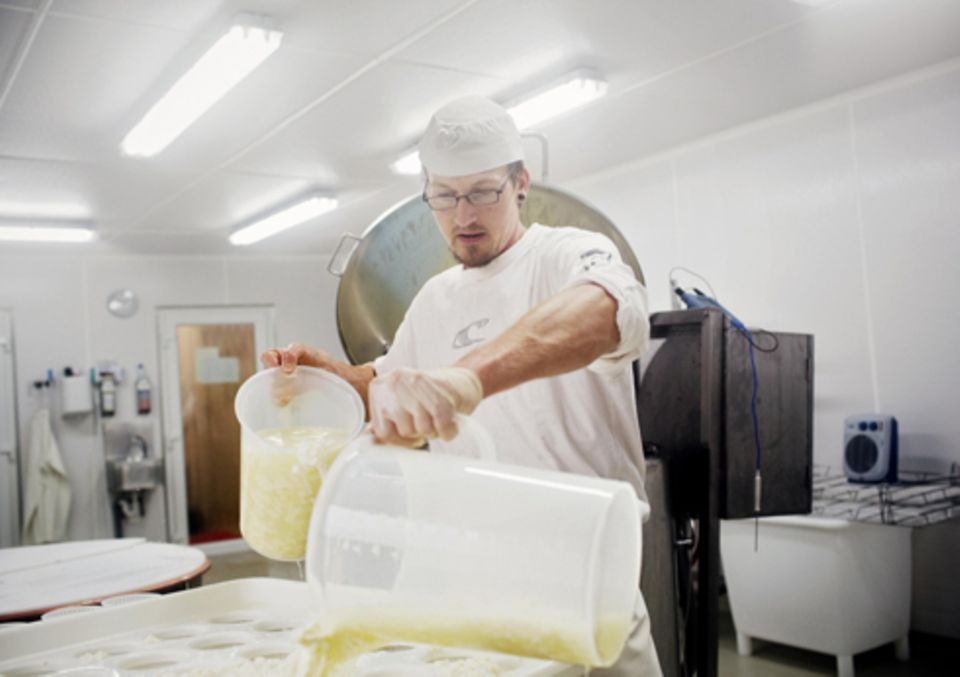 Politik: Clemens' Sohn Marian in der Käserei, die er auf dem Schwalbenhof aufgebaut hat. Das Käsemachen hat er in der Schweiz gelernt.