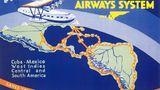 Poster Anonymous 1933: Das Streckennetz von Pan Am war mit den viermotorigen Sikorsky S-42-Flugbooten weit über Mittelamerika hinaus bis Südamerika gewachsen.