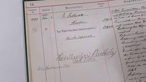 Auftragsbuch im Daimler-Archiv