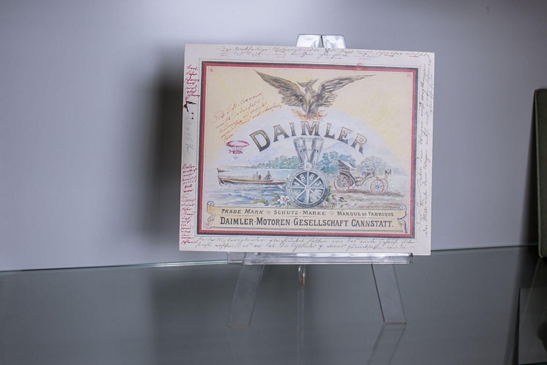 Daimler Logo 1883 - mit handschriftlichen Anmerkungen rundum