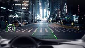 Bei WayRay werden die grafischen Elemente werden 15 Meter vor das Auto projiziert