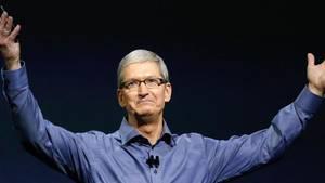 Ein glücklicher Firmenlenker:Beim Bericht über das Weihnachtsquartal konnte Apple-Chef Tim Cook ganz oft das Wort «Rekord» fallen lassen. Foto:Monica Davey