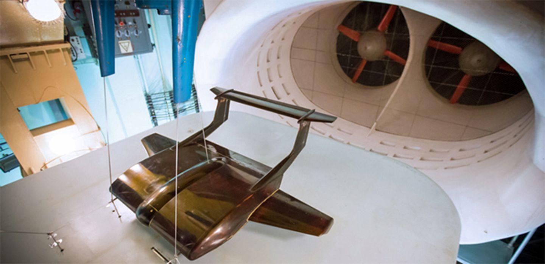 Das Modell im Windtunnel.