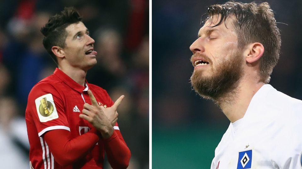 Robert Lewandowksi vom FC Bayern hatte einen deutlich besseren DFB-Pokalabend als Aaron Hunt vom HSV