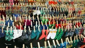 Socken auf der Wäscheleine
