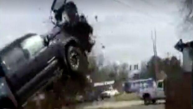 Verfolgungsjagd Pickup Sprung Crash USA