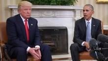 US-Präsident Donald Trump (l.) und sein Vorgänger Barack Obama