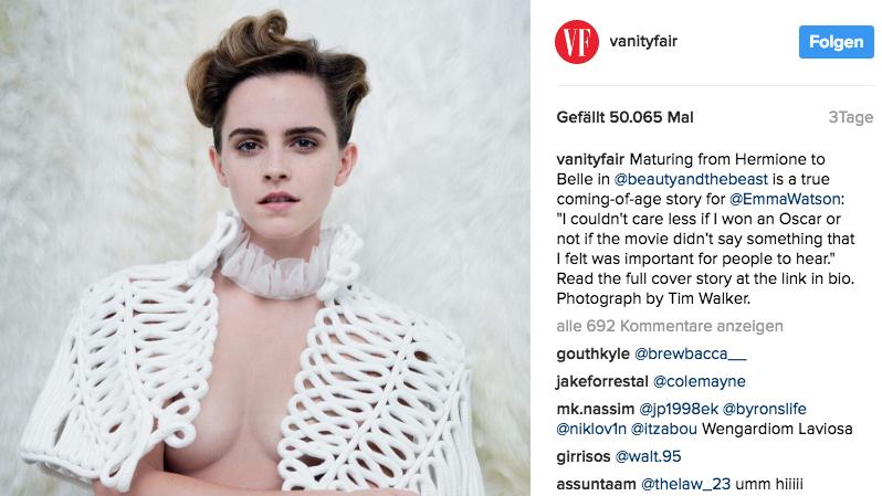 Zeigt auf einem Foto für das US-Magazin Vanity Fair ein bisschen ihrer Brust: Schauspielerin Emma Watson