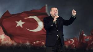 Der türkische Präsident Recep Tayyip Erdogan bei einer Wahlkampfveranstaltung