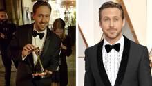 Links Ludwig Lehner mit der Goldenen Kamera, rechts der echte Hollywoodstar: Lehner arbeitet nebenbei als Ryan-Gosling-Double
