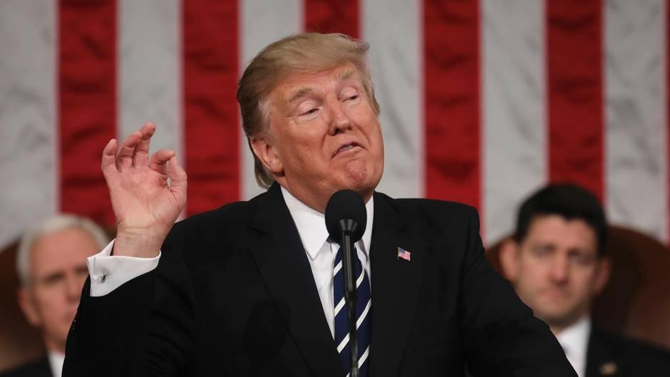 Donald Trump während seiner Rede im Kongress