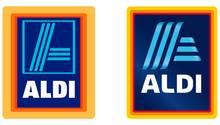 Vergleich von altem und neuem Logo von Aldi Süd