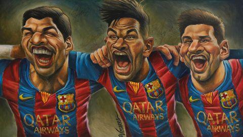 Luis Suarez, Neymar und Lionel Messi vom FC Barcelona auf einem Cartoon - Schaffen sie einen Champions-League-Rekord?