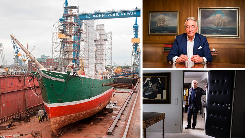 """Die """"Rickmer Rickmers"""", ein Wahrzeichen der Stadt Hamburg, im Dock"""