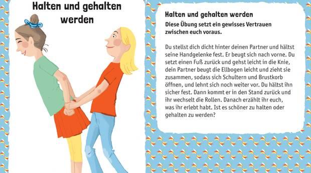 Illustration von zwei hintereinander stehenden Kindern