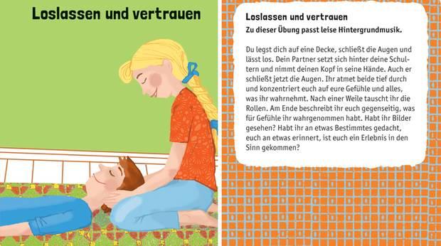 Illustration zweier Kinder auf einer Decke, ein Junge Liegt, ein Mädchen hockt dahinter und hält seinen Kopf