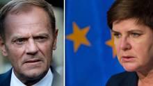 Polens Premierministerin Beata Szydlo hat Donald Tusk im Visier - Polen war gegen Tusks Wiederwahl beim EU-Gipfel