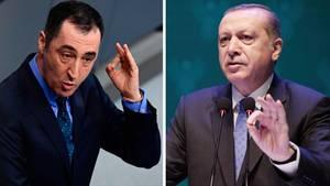 Bild-Kombo: Cem Özdemir und Recep Tayyip Erdogan gestikulieren