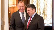 Sigmar Gabriel und Sergej Lawrow in Moskau, Russland