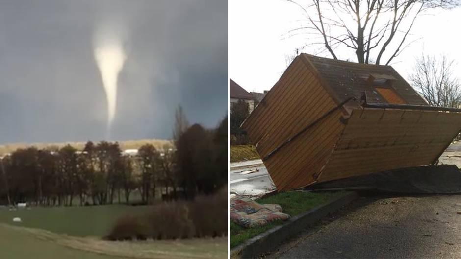 """Kurzer, heftiger Wirbelsturm: Tornado hinterlässt bei Würzburg """"Schneise der Verwüstung"""""""