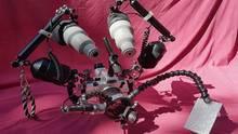 Das aufwendige Equipment für die Tauchgänge von Volker Lonz. Einiges des Zubehörs hat er selbst gebaut.