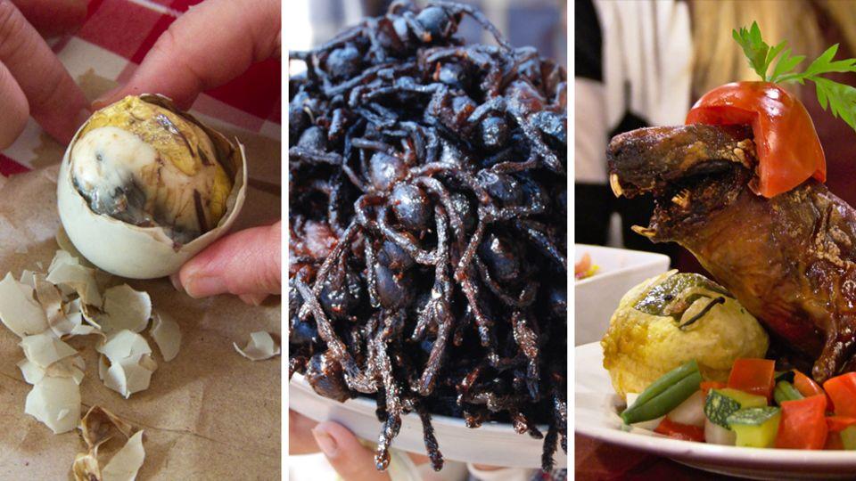 Außergewöhnliche Delikatessen wie Spinnen