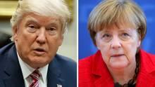 Treffen zum ersten Mal aufeinander: Bundeskanzlerin Angela Merkel und US-Präsident Donald Trump