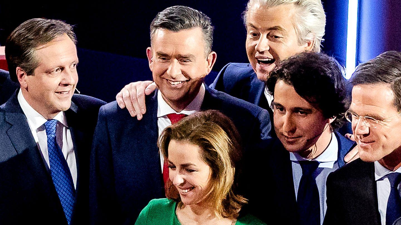 Wahltag in den Niederlanden: Die Spitzenkandidaten (v.l.n.r): Alexander Pechtold (Demokraten), Emile Roemer (Sozialistische Partei), Geert Wilders (Partei für die Freiheit), Jesse Klave (Grüne), Mark Rutte (Ministerpräsident, bürgerlich-liberale Partei) und Marianne Thieme (Tierschutzpartei)