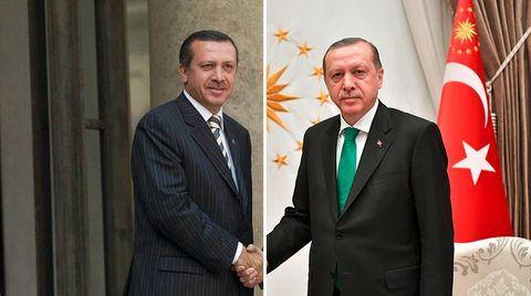 Der Recep Tayyip Erdogan aus dem Jahr 2004 (l.) und der von heute (r.) haben nur noch wenig miteinander gemein