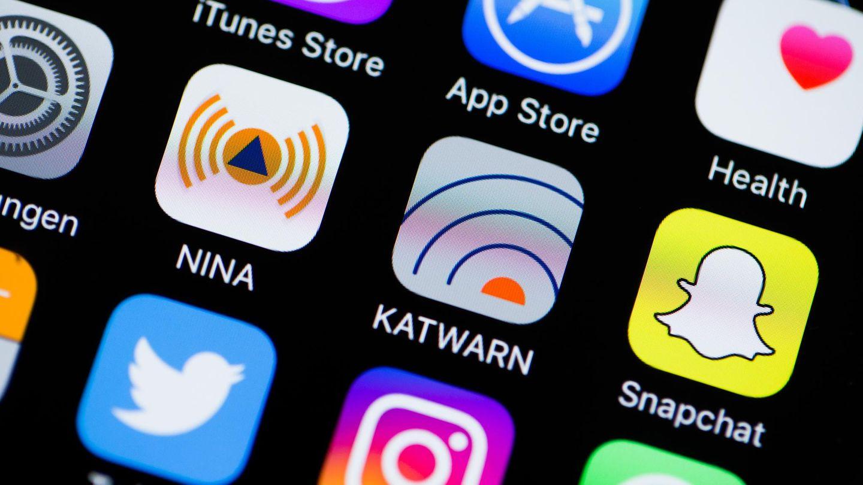 Verschiedene Apps auf dem Bildschirm von Apples iPhone