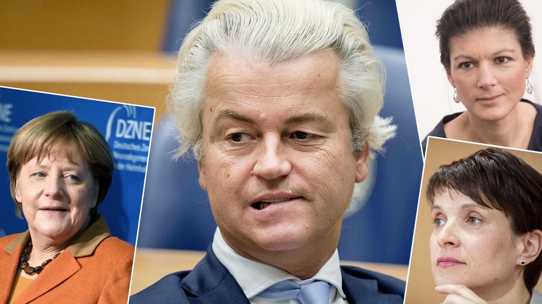 Dass Geert Wilders nicht so abschnitt, wie der Rechtspopulist erhofft hatte, ärgert AfD-Chefin Frauke Petry (u.r.).Sahra Wagenknecht (o.r.) und Angela Merkel sind dagegen erfreut.