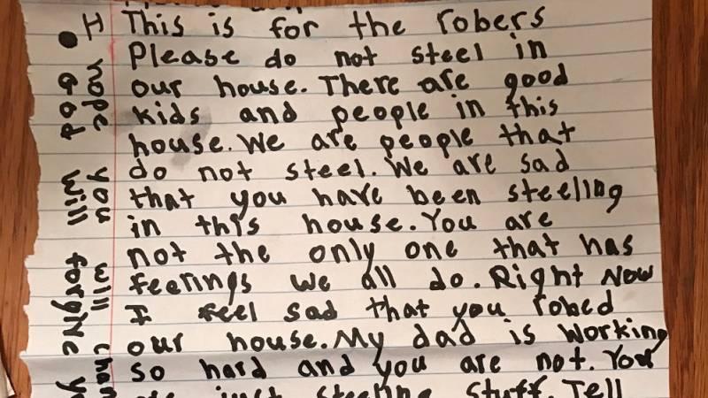 Nach Einbruch: Achtjährige Wendy klebt Dieben einen Brief ans ...