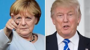 Angela Merkel mit erhobenem Zeigefinger und Donald Trump