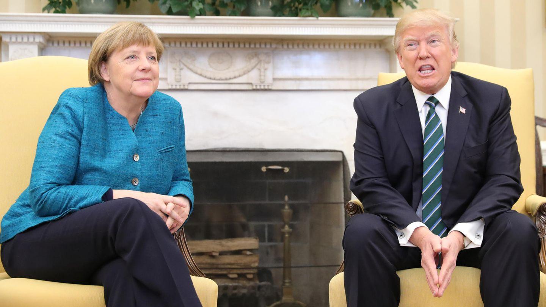 Beste Laune (zumindest beim Fototermin): Die Bundeskanzlerin und der US-Präsident