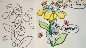 Malbuch: Blumen und Raupen
