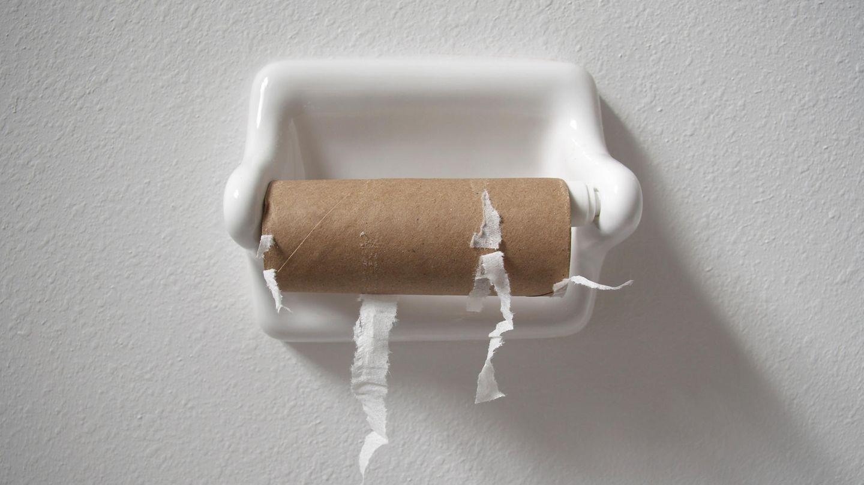 Eine leere Rolle Toilettenpapier