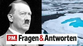 Adolf Hitler neben einem Bild des Nordpols