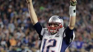 Hier trug er das Trikot noch: Tom Brady jubelt beim 51. Super Bowl