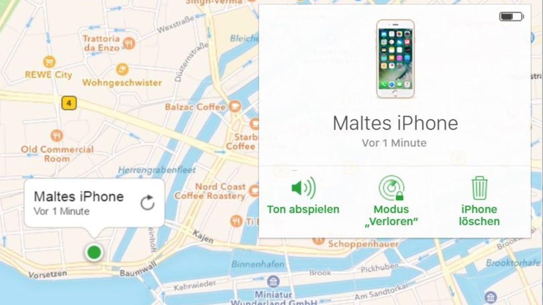 """Die Funktion """"iPhone finden"""" in Apples iCloud"""
