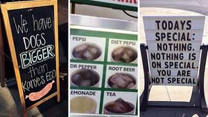 Schilder und Speisekarten, die für einen gratis Lacher sorgen