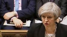 Englands Premierministerin Theresa May spricht vor dem Parlament über den Anschlag von London