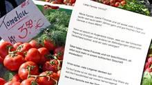 Brief und Gemüse